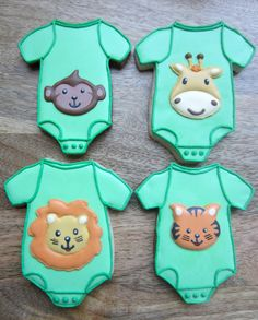 Animal Baby Onesie #Decorated #Cookies by @SugarBridget   http://www.sugarbuff.com/