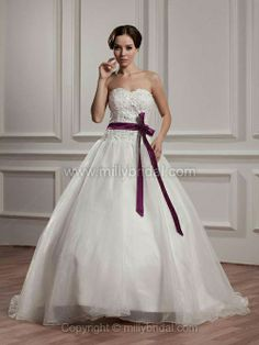 Ball Gown Sweetheart Organza Court Train Sashes / Ribbons Wedding Dresses