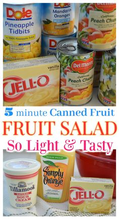 Fast and Easy 5 Minute Fruit Salad Recipe Recipes With Canned Fruit, Fruit Salad Recipes, Snack Recipes, Fruit Salads, Snacks, Fruit Salad With Pudding, Fruit Salad With Marshmallows, Fresh Fruit Cake, Fresh Fruit Salad