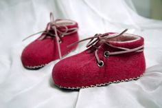 19352c63ca78 wet felted baby booties - little fuchsia booties - laced up handmade house  baby shoes - unisex baby sneakers Baby shower gift - crib booties
