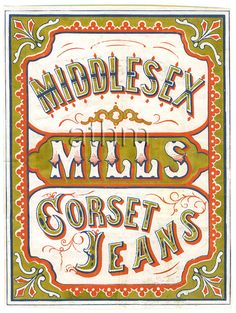 Middlesex Mills corset jeans cloth label.