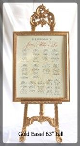 Gold Easel 63 inches tall with frame Candelabra Centerpiece, Centerpieces, Easels, Wedding Tables, Seating Charts, Gta, Different Colors, Toronto, Brides