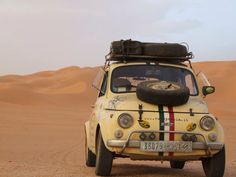 500 - the adventures are boundless. Especially when the motor gives up four hundred miles from nowhere. Fiat Cinquecento, Fiat 500c, Fiat Abarth, Retro Cars, Vintage Cars, Automobile, Fiat 126, Microcar, Fiat Cars