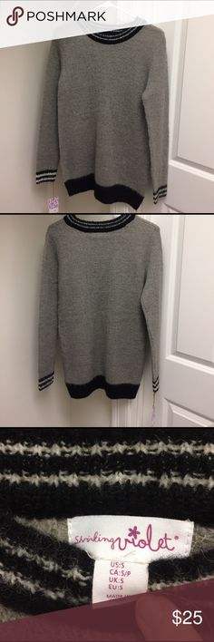 """NWT Anthropologie shrinking Violet sweater Black and gray Anthropologie sweater. 40% acrylic, 35% nylon, 25% wool. Length 29 1/2"""". Brand new. Pet and smoke free home. Anthropologie Sweaters Crew & Scoop Necks"""