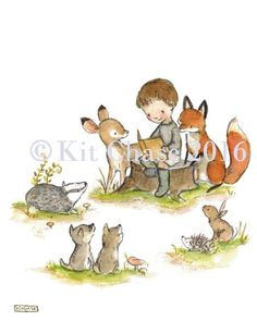 children's art print of boy reading to animals in the woods