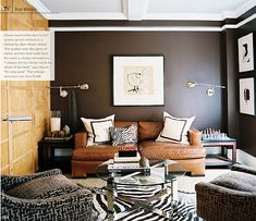 Obsessed with this color combo--brown and white perfection and who can deny that couch and rug?