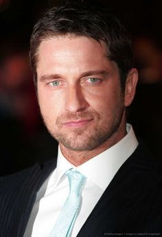 Gerard Butler, male actor, celeb, powerful face, intense eyes, suit and tie, beard, portrait, photo