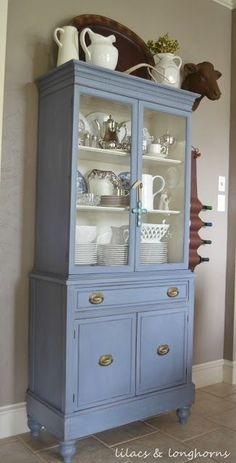 Like the paint color for new hutch Beautiful china hutch painted in Annie Sloan Chalk Paint Old Violet. by marian Decor, Redo Furniture, Painted Furniture, Home Furniture, Painted China Cabinets, Refinishing Furniture, Painted Kitchen Cabinets Colors, Chalk Paint Furniture, Furniture Makeover