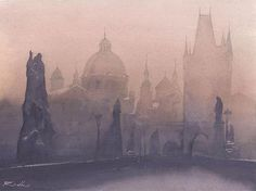 "757 mentions J'aime, 15 commentaires - Rafal Rudko (@rafalrudko) sur Instagram : """"Prague bridge"" Watercolor 9x12"" (21x30cm) #watercolour #watercolor #aquarelle #akwarela #art…"""