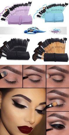 Family Deals Make up Professional Soft Makeup Brushes - 20 Pcs Set Source by Eye Makeup Tips, Makeup Tricks, Mac Makeup, Makeup Brush Set, Eyeshadow Makeup, Makeup Ideas, Makeup Products, Makeup Tutorials, Makeup Tools