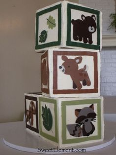 Forest Friends Baby Block Cake