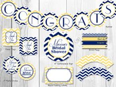 Bridal Shower Decor Package. Yellow & Navy Chevron Printable Bridal Shower Decorations.