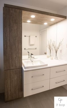 Modern Bathroom Cabinets, Bathroom Renos, Laundry In Bathroom, Bathroom Renovations, Bathroom Furniture, Small Bathroom, Washbasin Design, Bathroom Design Inspiration, Cupboard Design
