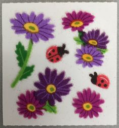 Sandylion Vintage Flowers Scratch N Sniff Stickers 3 Squares RETIRED