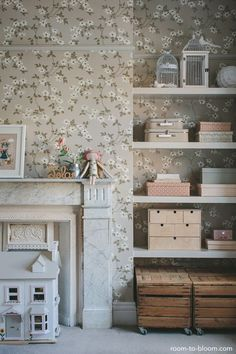 Interior design for a girls bedroom in soft grey and pink, featuring floral wallpaper, a vintage wardrobe and school desk, and a four poster bed. Pink Bedroom For Girls, Little Girl Rooms, Pink Room, Room Interior Design, Kids Room Design, Room Kids, Interior Paint, Boy Room, Kid Spaces
