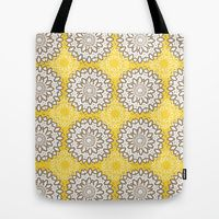 Tote Bag featuring Vintage Medallion Circle Pattern One by Robin Gayl