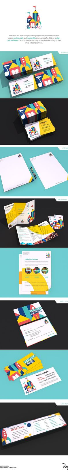 A branding / identity project done for the playground and child-haven, Peekaboo! Design Poster, Book Design, Web Design, Brand Identity Design, Graphic Design Branding, Kids Graphic Design, Kids Branding, Logo Branding, Kindergarten Logo