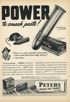 Vintage 1947 Peters Bullets Print Advertisement  Mouse  Corn