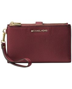 Michael Michael Kors Adele Double-Zip iPhone 7 Plus Wristlet - Black/Silver Adele, Iphone 7 Plus, Michael Kors Fall, Play The Video, Photo Today, Cute Purses, Luxury Handbags, Pebbled Leather, Handbag Accessories