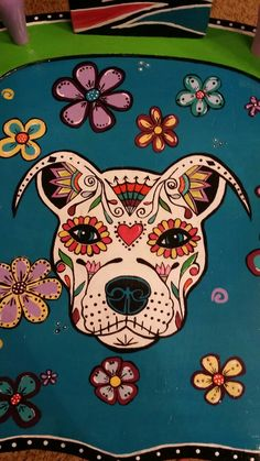 Dog Skull, Sugar Skull Cat, Sugar Skull Tattoos, Sugar Skulls, Sugar Skull Artwork, Sugar Skull Painting, Bull Painting, Dog Skeleton, Mexican Art