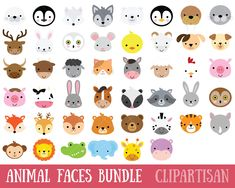 Animal Faces Clipart African Woodland (Graphic) by ClipArtisan · Creative Fabrica Arctic Animals, Forest Animals, Woodland Animals, Farm Animals, Cute Animals, Clipart Photo, Image Clipart, Tribal Animals, African Animals