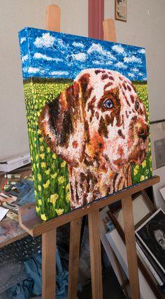 Portrait chien - Huile sur toile - 50x50cm - David Cadran - Peinture aux doigts - #fingerpainter #fingerpainting #impressionism #oilpainting  #portraitart #animals #pet #dogart #dog
