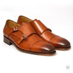 Brown leather dress shoes for men, Handmade to order. - Mens genuine leather Monk strap shoe - Real cow hide leather upper with leather sole - Custom sole imprint with FERI design - Cowhide Leather, Leather Men, Brown Leather, Monk Strap Shoes, Leather Dress Shoes, Brown Heels, Fashion Brand, Luxury Fashion, Luxury Shoes
