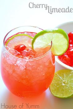 Cherry Limeade.  Only three ingredients and ready in minutes! So pretty and fun!