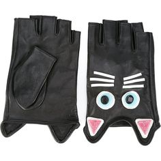 Karl Lagerfeld cat embroidered gloves ($113) ❤ liked on Polyvore featuring accessories, gloves, black, goat leather gloves, cat gloves, karl lagerfeld gloves, karl lagerfeld and goatskin gloves