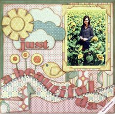 Just a Beautiful Day 1 page layout featuring Kiwi Lane Designer Templates & Paper Loft's Truly Scrumptious Collection.