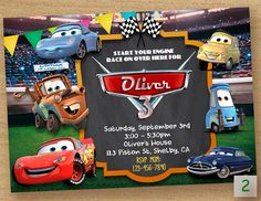 Coches cumpleaños invitación Disney invitan a fiesta de Cars