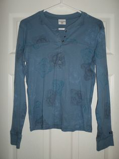 Women's Blue & Black COLUMBIA Half Button Fashion Long Sleeve Shirt, Size S, GUC #Columbia #HalfSnapButtonLongSleeveFashionShirt #Casual