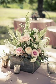 Wedding Centerpieces 25 Simple and Cute Rustic Wooden Box Centerpiece Ideas to Make Your Decoration … Wooden Box Centerpiece, Rustic Wedding Centerpieces, Wedding Decorations, Table Decorations, Rustic Weddings, Centerpiece Ideas, Centrepieces, Wedding Rustic, Cowboy Boot Centerpieces