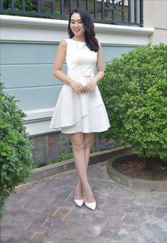 thoitrangdamdep.net - Đầm xòe 2 lớp kèm belt màu trắng xinh xắn