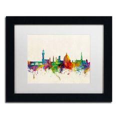 """Trademark Art """"Florence Italy Skyline Beige"""" by Michael Tompsett Framed Graphic Art Size: 1"""