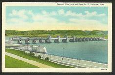 Vintage Linen Postcard -  General Pike Lock and Dam No. 11, Dubuque, Iowa…