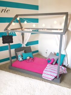 DIY Toddler Room / Adorable Pink and Teal DIY Toddler Room / toddler room / diy kids bed/ diy toddler bed