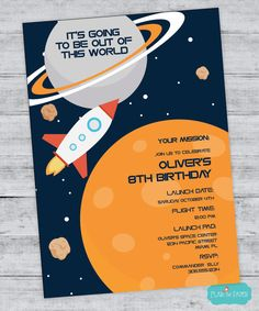 Space Invitation, Outer Space Birthday, Boy Birthday Party, Rocket Birthday, Space Party, Planet Birthday Invitation, Space Birthday Digital
