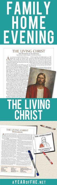 """A Year of FHE // This Family Home Evening about """"The Living Christ"""" is so great! It teaches the entire family the principles in the document and includes a mini book for kids to color and a fill-in activity for older kids and teens! Just print, click, and teach!"""