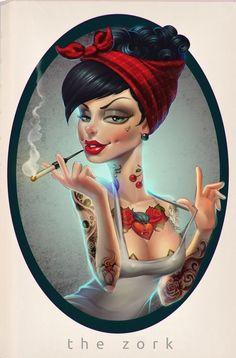 Pinup tattoo bandana greaser chick