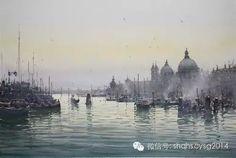 Joseph Zbukvic, Venice Watercolor Sea, Watercolor Landscape Paintings, Watercolor Sketch, Landscape Art, Sketch Painting, Artist Painting, Joseph Zbukvic, Venice, Illustration Art