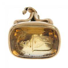 A citrine intaglio seal fob. : Lot 937