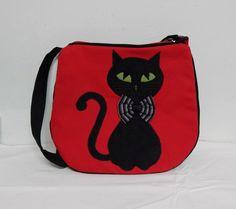 Сумка кошка с галстуком-бабочкой каваи красный и черный с KlotoTeam