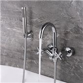 Bathtub Faucet Set In-wall Bathtub Faucet with Handshower Hot and Cold Water Faucet Widespread Bathroom Faucet, Lavatory Faucet, Bathroom Faucets, Wall Mount Tub Faucet, Commercial Faucets, Glass Waterfall, Shower Mixer Taps, Single Handle Bathroom Faucet, Bathtub Remodel