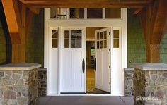 Front And Entry Doors For Your House – The Homeward View Double Front Entry Doors, Craftsman Front Doors, Double Doors Exterior, Wood Front Doors, Garage Doors, Sliding Doors, French Doors With Sidelights, Windows And Doors, Buy Windows