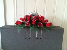 Silk red rose glitter tipped headstone saddle by GuardianFlowers, $24.99