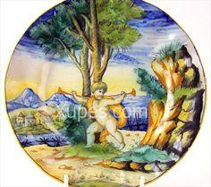 Italian_Cantagalli_Maiolica_Painted_Plate_19Th_C.jpg (450×400)
