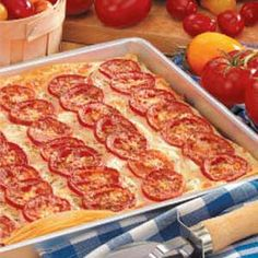 Tomato-Onion Phyllo Pizza. Yum! Use red onions! 54 calories a serving =)