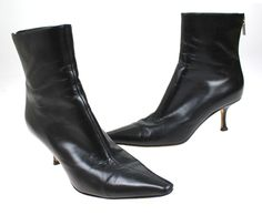 Womens Jimmy Choo Black Leather Zipper Ankle Boots Shoes Size 37 #JimmyChoo #AnkleBoots #Casual