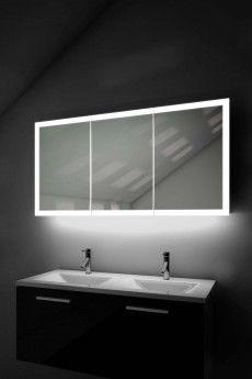 360 Lit Edge Bathroom Mirror Cabinet - Illuminated Mirrors Bathroom Mirror Cabinet, Mirror Cabinets, Mirror Door, Plasterboard Wall, Double Sided Mirror, Led Lighting Solutions, Illuminated Mirrors, Shelf Holders